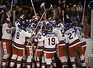 "Team USA celebrates ""the Miracle on Ice"""