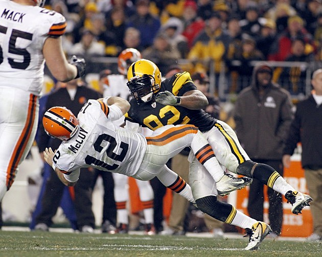 James Harrison Hit On Colt McCoy