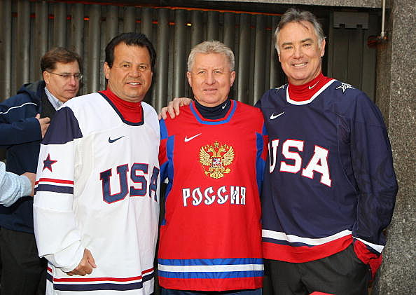 Jim Craig, Vladamir Myshkin and Mike Eruzione