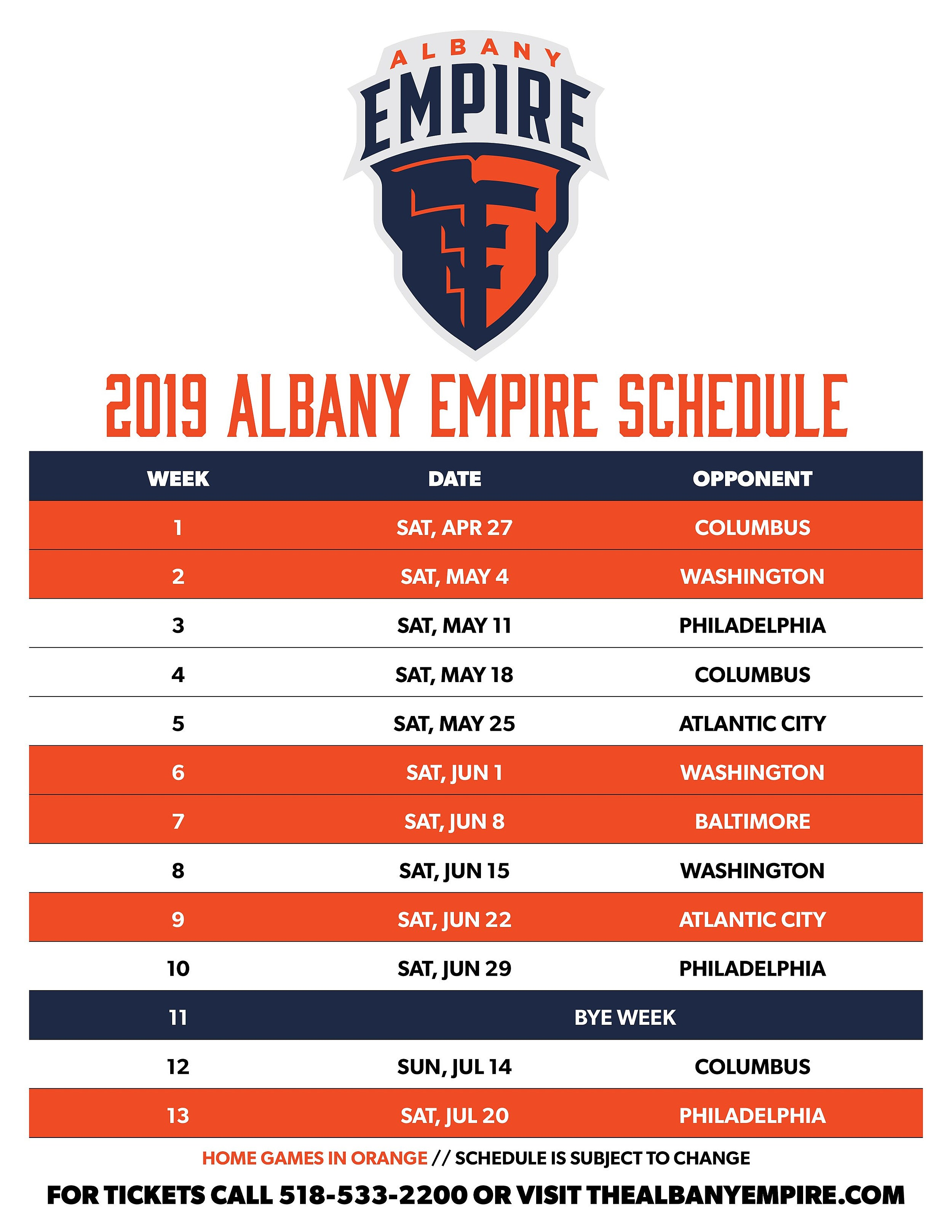 2019 Albany Empire Schedule